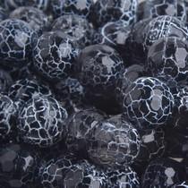 Zwart Agaat crackle facet kraal rond zwart 12mm