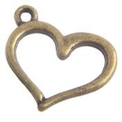 Antiek Goud Brons Bedel hartje Brons 13x16mm - 3 stuks