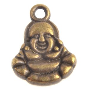 Antiek Goud Brons Bedel buddha Brons 14x11mm - 3 stuks