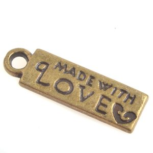 Antiek Goud Brons Bedel label 'made with love' Brons 13x16mm - 5 stuks