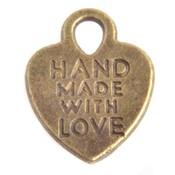 Antiek Goud Brons Bedel hart 'handmade with love' Brons 15x12mm - 6 stuks