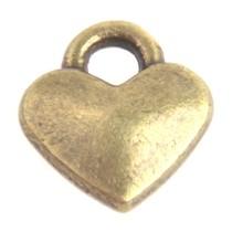 Antiek Goud Brons Bedel mini hartje Brons 8x7mm - 6 stuks