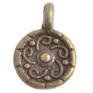 Antiek Goud Brons Bedel muntje Brons 13x9mm - 5 stuks