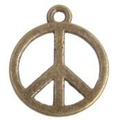 Antiek Goud Brons Bedel peace teken Brons 18mm - 3 stuks