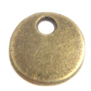 Antiek Goud Brons Bedel muntje Brons 8mm - 4 stuks