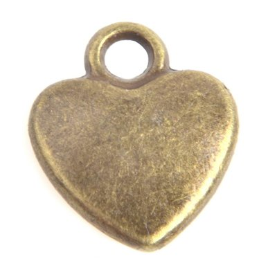 Antiek Goud Brons Bedel hartje Brons 12x10mm - 6 stuks