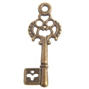 Antiek Goud Brons Bedel sleutel Brons 28x12mm - 3 stuks