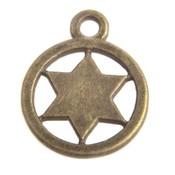 Antiek Goud Brons Bedel munt ster Brons 17x14mm - 3 stuks