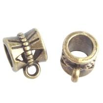 Antiek Goud Brons Kraal met oog Ø4mm Brons 10x7mm - 5 stuks