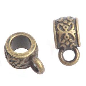 Antiek Goud Brons Kraal met oog Ø4mm Brons 11x6mm - 3 stuks