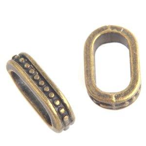Antiek Goud Brons Leerschuiver mini dots Ø10x5mm Brons 14x8mm