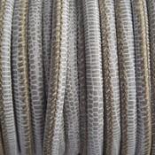 Groen Stitched nappa leer PQ olive grey snake 4mm - prijs per cm