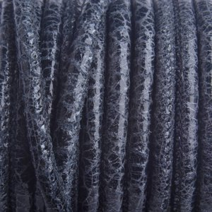 Blauw Stitched nappa leer PQ Antraciet Zwart crackle 4mm - prijs per cm