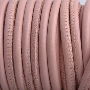 Roze Stitched nappa leer PQ Vintage Roze 4mm - prijs per cm