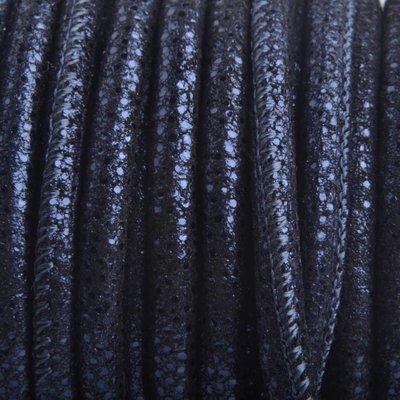 Blauw Stitched nappa leer PQ Donker Blauw metallic 4mm - prijs per cm