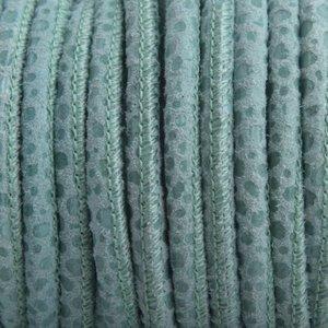 Turquoise Stitched nappa leer PQ Seagreen spots 4mm - prijs per cm