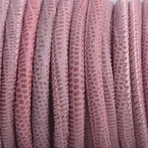 Roze Stitched nappa leer PQ Pink snake 4mm - prijs per cm