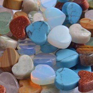 Multicolor Half edelsteen hartje gemixt 10mm