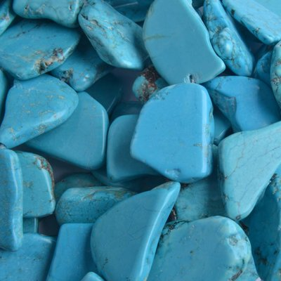 Blauw Turquoise nugget plat Blauw ±20x30mm