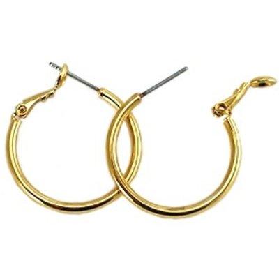 Goud Creolen oorbel rond Gold plated DQ 25mm - per paar