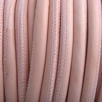 Roze Stitched rond PQ leer soft pink 6mm - prijs per cm