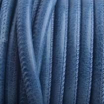 Blauw Stitched rond PQ leer Jeans Blauw 6mm - prijs per cm