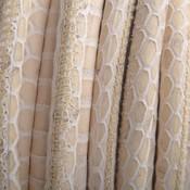 Bruin Stitched rond PQ leer Caramel Snake 6mm - prijs per cm