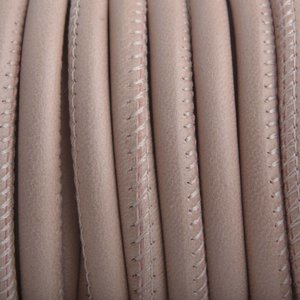 Stitched rond PQ leer Nude Pink Brown 6mm - prijs per cm