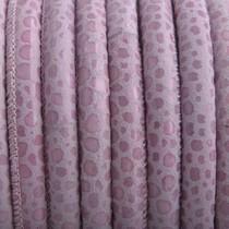 Roze Stitched rond PQ leer Roze spots 6mm - prijs per cm