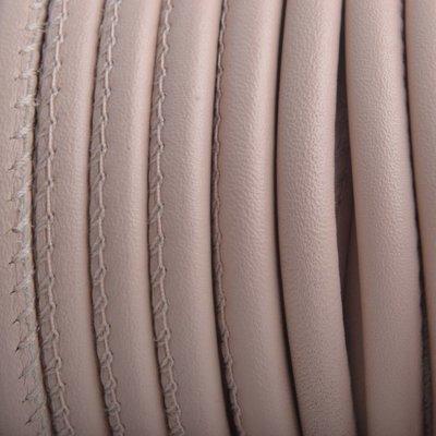 Bruin Stitched rond PQ leer Nude Pink 6mm - prijs per cm