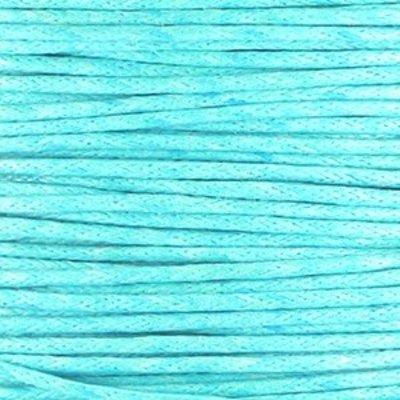 Blauw Waxkoord rond Aqua blue Ø1mm - prijs per10 meter