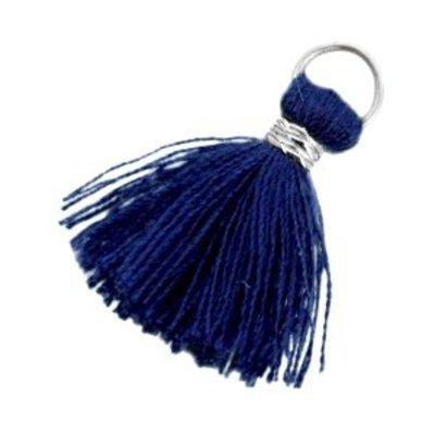 Blauw Ibiza kwast Zilver-Donker blauw 20mm