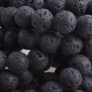 Zwart Natuursteen Lava rond zwart 8mm