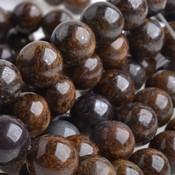 Bruin Half edelsteen Bronziet rond donker bruin 10mm