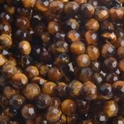Bruin Half edelsteen Tijgeroog rond facet 4mm - 10 stuks