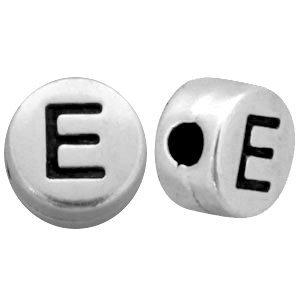 Zilver Kraal letter 'E' Ø2mm Zilver DQ 7mm