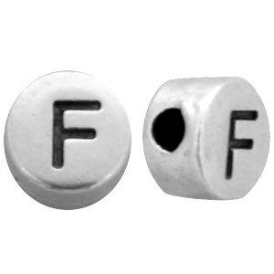 Zilver Kraal letter 'F' Ø2mm Zilver DQ 7mm
