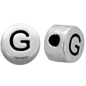 Zilver Kraal letter 'G' Ø2mm Zilver DQ 7mm