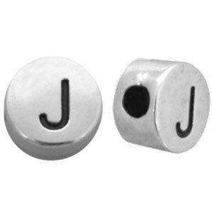 Zilver Kraal letter 'J' Ø2mm Zilver DQ 7mm