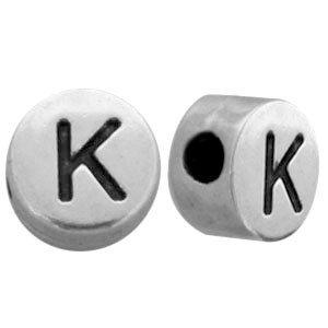 Zilver Kraal letter 'K' Ø2mm Zilver DQ 7mm