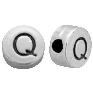 Zilver Kraal letter 'Q' Ø2mm Zilver DQ 7mm