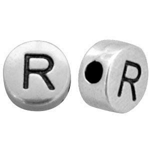 Zilver Kraal letter 'R' Ø2mm Zilver DQ 7mm