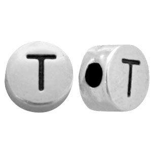 Zilver Kraal letter 'T' Ø2mm Zilver DQ 7mm