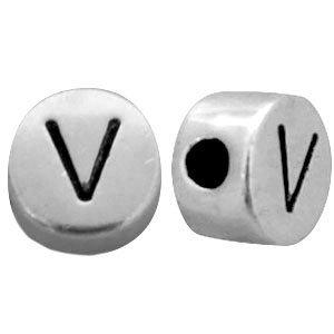 Zilver Kraal letter 'V' Ø2mm Zilver DQ 7mm