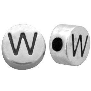 Zilver Kraal letter 'W' Ø2mm Zilver DQ 7mm