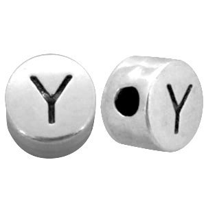 Zilver Kraal letter 'Y' Ø2mm Zilver DQ 7mm