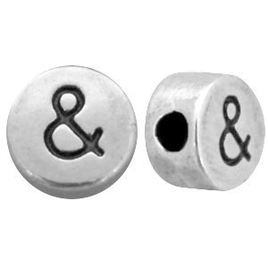 Zilver Kraal letter '&' Ø2mm Zilver DQ 7mm