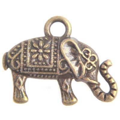 Antiek Goud Brons Bedel olifant Brons 13x17mm - 4 stuks