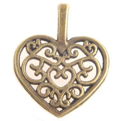 Antiek Goud Brons Bedel filigraan hart Brons 18x15mm - 3 stuks