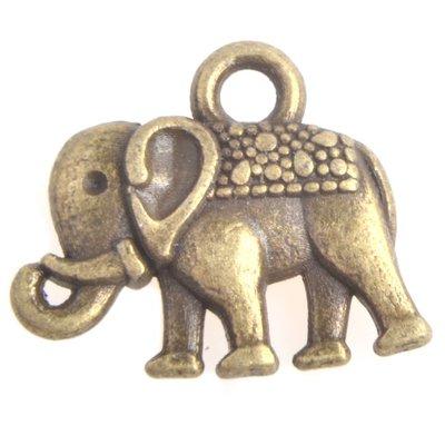 Antiek Goud Brons Bedel olifant Brons 13mm - 3 stuks